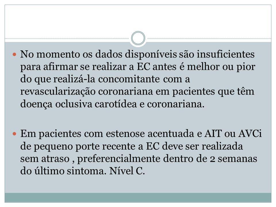  No momento os dados disponíveis são insuficientes para afirmar se realizar a EC antes é melhor ou pior do que realizá-la concomitante com a revascul