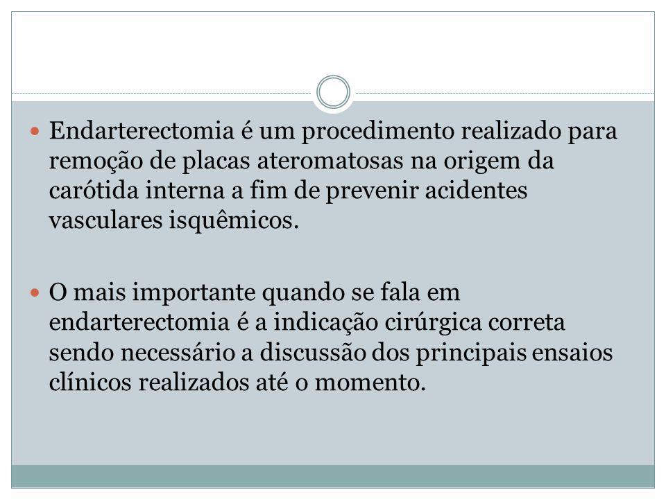 NASCET  Publicado em 2001, mostrou que nos pacientes que apresentaram acidente vascular isquêmico transitório ou AVCi não incapacitante nos 120 dias anteriores a sua entrada no estudo a estenose entre 70 e 99% do lúmen da artéria documentada por angiografia cerebral a cirurgia era claramente superior ao tratamento medicamentoso para prevenir AVCi diminuindo o risco em 2 anos de 26% para 9%( p< 0,01).