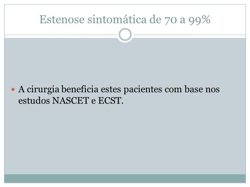 Estenose sintomática de 50 a 69%  No NASCET esse grupo apresentou um benefício heterogêneo.