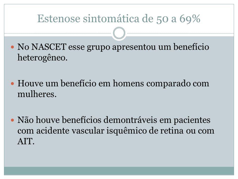 Estenose sintomática de 50 a 69%  No NASCET esse grupo apresentou um benefício heterogêneo.  Houve um benefício em homens comparado com mulheres. 