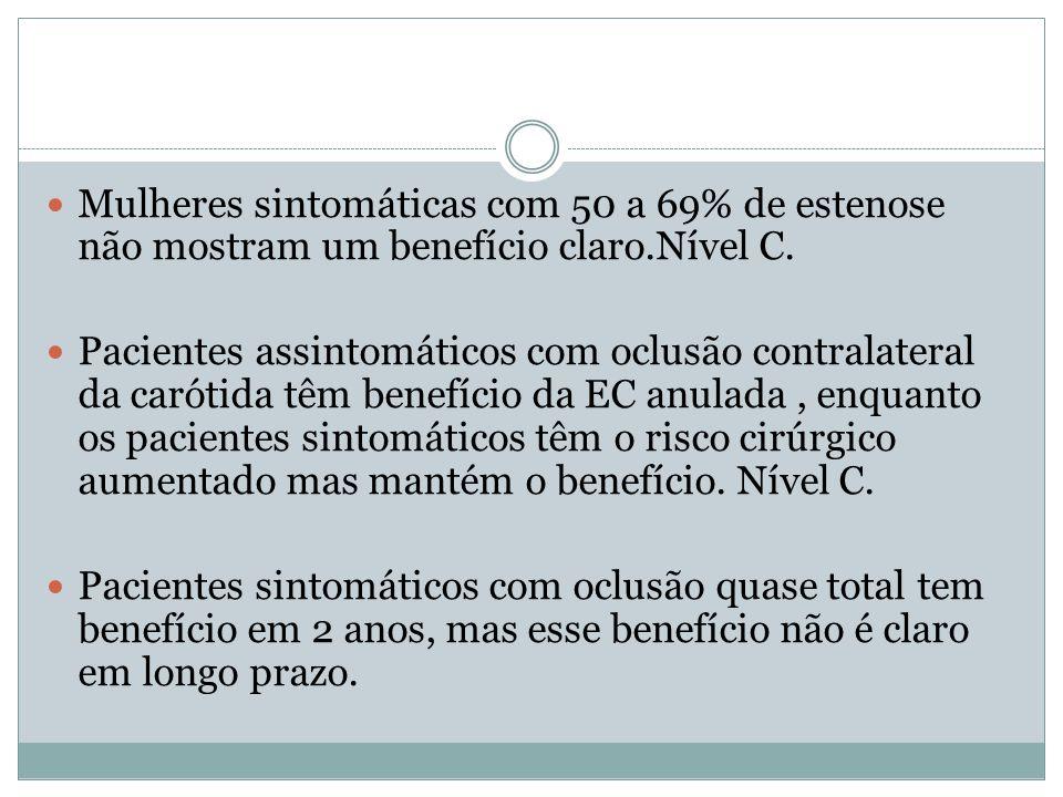  Mulheres sintomáticas com 50 a 69% de estenose não mostram um benefício claro.Nível C.  Pacientes assintomáticos com oclusão contralateral da carót