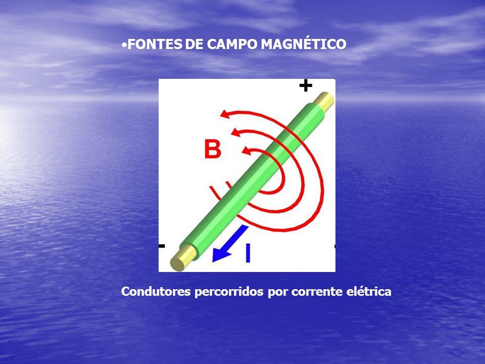 •FONTES DE CAMPO MAGNÉTICO Condutores percorridos por corrente elétrica