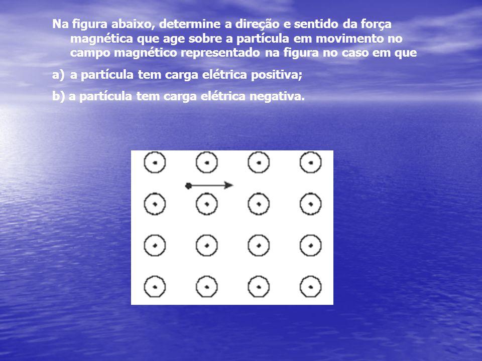 Na figura abaixo, determine a direção e sentido da força magnética que age sobre a partícula em movimento no campo magnético representado na figura no caso em que a)a partícula tem carga elétrica positiva; b) a partícula tem carga elétrica negativa.