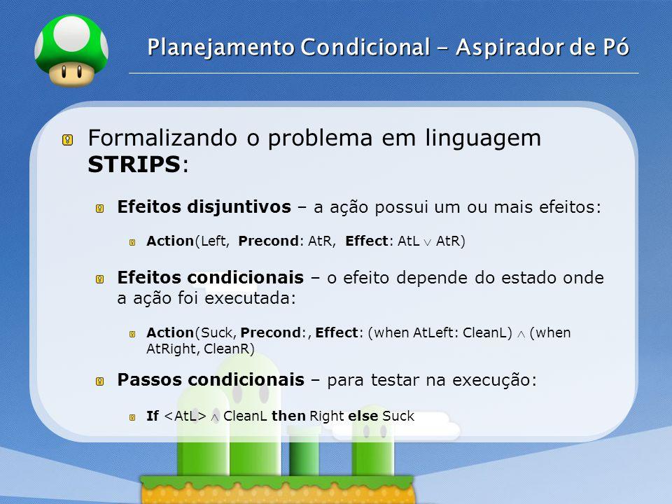 LOGO Planejamento Condicional - Aspirador de Pó Formalizando o problema em linguagem STRIPS: Efeitos disjuntivos – a ação possui um ou mais efeitos: A