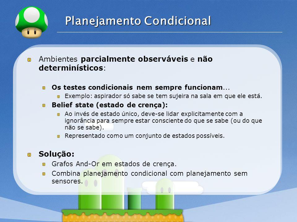 LOGO Planejamento Condicional Ambientes parcialmente observáveis e não determinísticos: Os testes condicionais nem sempre funcionam... Exemplo: aspira