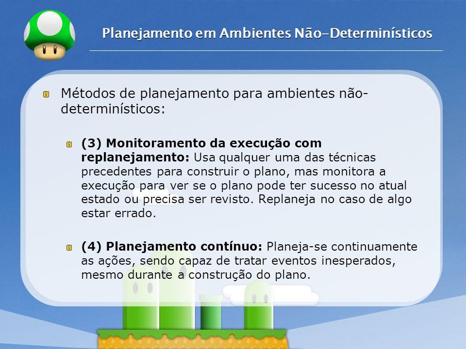 LOGO Planejamento em Ambientes Não-Determinísticos Métodos de planejamento para ambientes não- determinísticos: (3) Monitoramento da execução com repl