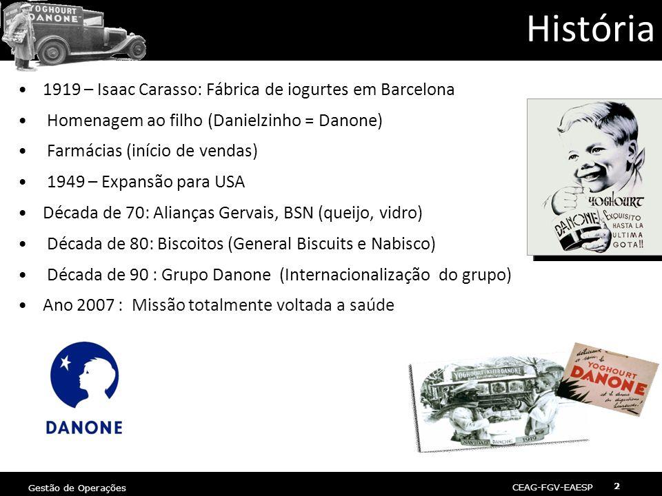 CEAG-FGV-EAESP Gestão de Operações 2 2 História •1919 – Isaac Carasso: Fábrica de iogurtes em Barcelona • Homenagem ao filho (Danielzinho = Danone) • Farmácias (início de vendas) • 1949 – Expansão para USA •Década de 70: Alianças Gervais, BSN (queijo, vidro) • Década de 80: Biscoitos (General Biscuits e Nabisco) • Década de 90 : Grupo Danone (Internacionalização do grupo) •Ano 2007 : Missão totalmente voltada a saúde