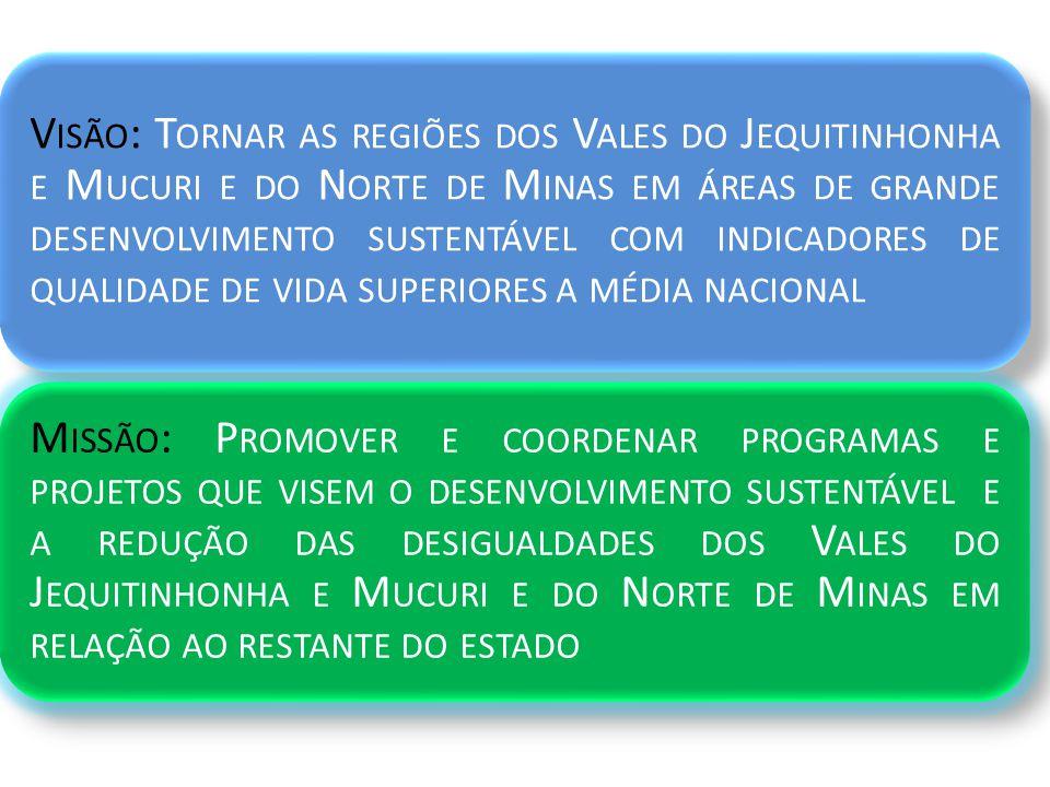 V ISÃO : T ORNAR AS REGIÕES DOS V ALES DO J EQUITINHONHA E M UCURI E DO N ORTE DE M INAS EM ÁREAS DE GRANDE DESENVOLVIMENTO SUSTENTÁVEL COM INDICADORES DE QUALIDADE DE VIDA SUPERIORES A MÉDIA NACIONAL M ISSÃO : P ROMOVER E COORDENAR PROGRAMAS E PROJETOS QUE VISEM O DESENVOLVIMENTO SUSTENTÁVEL E A REDUÇÃO DAS DESIGUALDADES DOS V ALES DO J EQUITINHONHA E M UCURI E DO N ORTE DE M INAS EM RELAÇÃO AO RESTANTE DO ESTADO