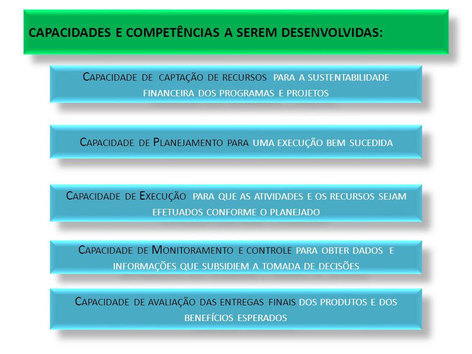CAPACIDADES E COMPETÊNCIAS A SEREM DESENVOLVIDAS: C APACIDADE DE CAPTAÇÃO DE RECURSOS PARA A SUSTENTABILIDADE FINANCEIRA DOS PROGRAMAS E PROJETOS C APACIDADE DE P LANEJAMENTO PARA UMA EXECUÇÃO BEM SUCEDIDA C APACIDADE DE E XECUÇÃO PARA QUE AS ATIVIDADES E OS RECURSOS SEJAM EFETUADOS CONFORME O PLANEJADO C APACIDADE DE M ONITORAMENTO E CONTROLE PARA OBTER DADOS E INFORMAÇÕES QUE SUBSIDIEM A TOMADA DE DECISÕES C APACIDADE DE AVALIAÇÃO DAS ENTREGAS FINAIS DOS PRODUTOS E DOS BENEFÍCIOS ESPERADOS