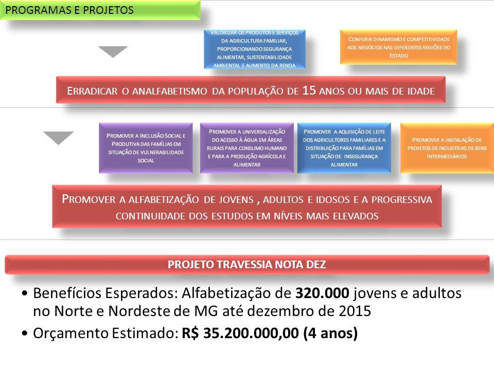 P ROMOVER A I NCLUSÃO S OCIAL E P RODUTIVA DAS FAMÍLIAS EM SITUAÇÃO DE VULNERABILIDADE SOCIAL P ROMOVER A AQUISIÇÃO DE LEITE DOS AGRICULTORES FAMILIARES E A DISTRIBUIÇÃO PARA FAMÍLIAS EM SITUAÇÃO DE INSEGURANÇA ALIMENTAR P ROMOVER A UNIVERSALIZAÇÃO DO ACESSO À ÁGUA EM ÁREAS RURAIS PARA CONSUMO HUMANO E PARA A PRODUÇÃO AGRÍCOLA E ALIMENTAR P ROMOVER A INSTALAÇÃO DE PROJETOS DE INDUSTRIAS DE BENS INTERMEDIÁRIOS PROJETO TRAVESSIA NOTA DEZ •Benefícios Esperados: Alfabetização de 320.000 jovens e adultos no Norte e Nordeste de MG até dezembro de 2015 •Orçamento Estimado: R$ 35.200.000,00 (4 anos) P ROMOVER A ALFABETIZAÇÃO DE JOVENS, ADULTOS E IDOSOS E A PROGRESSIVA CONTINUIDADE DOS ESTUDOS EM NÍVEIS MAIS ELEVADOS E RRADICAR O ANALFABETISMO DA POPULAÇÃO DE 15 ANOS OU MAIS DE IDADE V ALORIZAR OS PRODUTOS E SERVIÇOS DA AGRICULTURA FAMILIAR, PROPORCIONANDO SEGURANÇA ALIMENTAR, SUSTENTABILIDADE AMBIENTAL E AUMENTO DA RENDA C ONFERIR DINAMISMO E COMPETITIVIDADE AOS NEGÓCIOS NAS DIFERENTES REGIÕES DO E STADO PROGRAMAS E PROJETOS