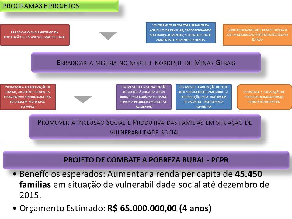 E RRADICAR O ANALFABETISMO DA POPULAÇÃO DE 15 ANOS OU MAIS DE IDADE C ONFERIR DINAMISMO E COMPETITIVIDADE AOS NEGÓCIOS NAS DIFERENTES REGIÕES DO E STADO V ALORIZAR OS PRODUTOS E SERVIÇOS DA AGRICULTURA FAMILIAR, PROPORCIONANDO SEGURANÇA ALIMENTAR, SUSTENTABILIDADE AMBIENTAL E AUMENTO DA RENDA P ROMOVER A ALFABETIZAÇÃO DE JOVENS, ADULTOS E IDOSOS E A PROGRESSIVA CONTINUIDADE DOS ESTUDOS EM NÍVEIS MAIS ELEVADOS P ROMOVER A AQUISIÇÃO DE LEITE DOS AGRICULTORES FAMILIARES E A DISTRIBUIÇÃO PARA FAMÍLIAS EM SITUAÇÃO DE INSEGURANÇA ALIMENTAR P ROMOVER A UNIVERSALIZAÇÃO DO ACESSO À ÁGUA EM ÁREAS RURAIS PARA CONSUMO HUMANO E PARA A PRODUÇÃO AGRÍCOLA E ALIMENTAR P ROMOVER A INSTALAÇÃO DE PROJETOS DE INDUSTRIAS DE BENS INTERMEDIÁRIOS PROJETO DE COMBATE A POBREZA RURAL - PCPR •Benefícios esperados: Aumentar a renda per capita de 45.450 famílias em situação de vulnerabilidade social até dezembro de 2015.