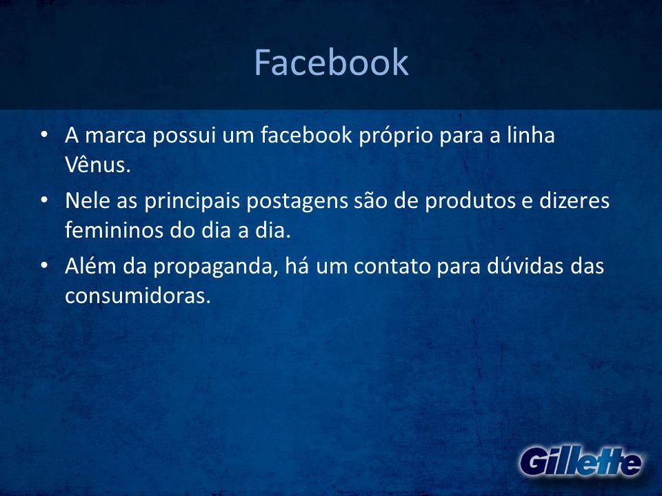 Facebook • A marca possui um facebook próprio para a linha Vênus. • Nele as principais postagens são de produtos e dizeres femininos do dia a dia. • A