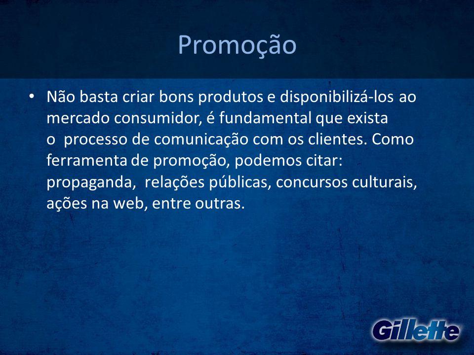 A marca • Gillette é uma das marcas da P&G.