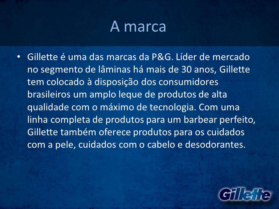 A marca • Gillette é uma das marcas da P&G. Líder de mercado no segmento de lâminas há mais de 30 anos, Gillette tem colocado à disposição dos consumi