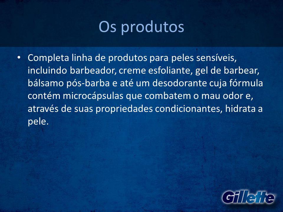 Os produtos • Completa linha de produtos para peles sensíveis, incluindo barbeador, creme esfoliante, gel de barbear, bálsamo pós-barba e até um desod