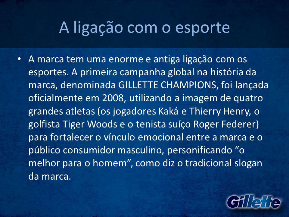 A ligação com o esporte • A marca tem uma enorme e antiga ligação com os esportes. A primeira campanha global na história da marca, denominada GILLETT