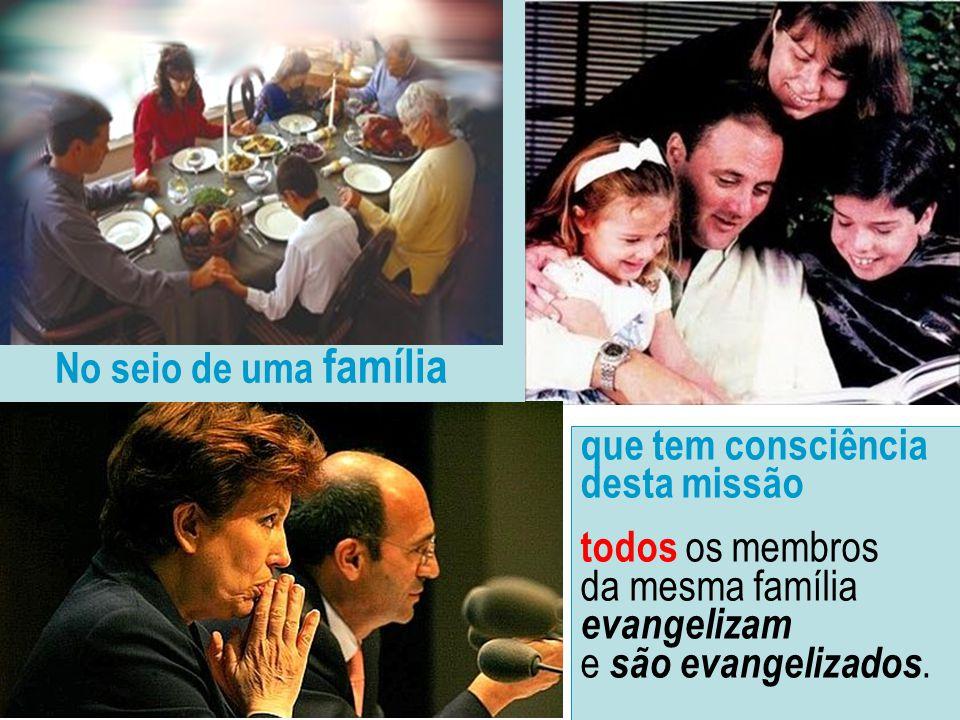 """a) Comunidade de Fé """"A família, como a Igreja, tem por dever ser um espaço … onde o Evangelho é transmitido+ e donde o Evangelho irradia."""