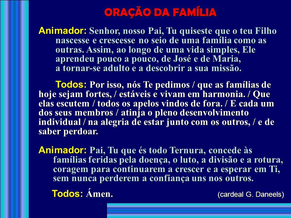 4. Para que os pais cristãos e seus filhos façam de suas famílias lares de paz e verdadeiras Igrejas domésticas, - oremos ao Senhor: 5. Para que os no