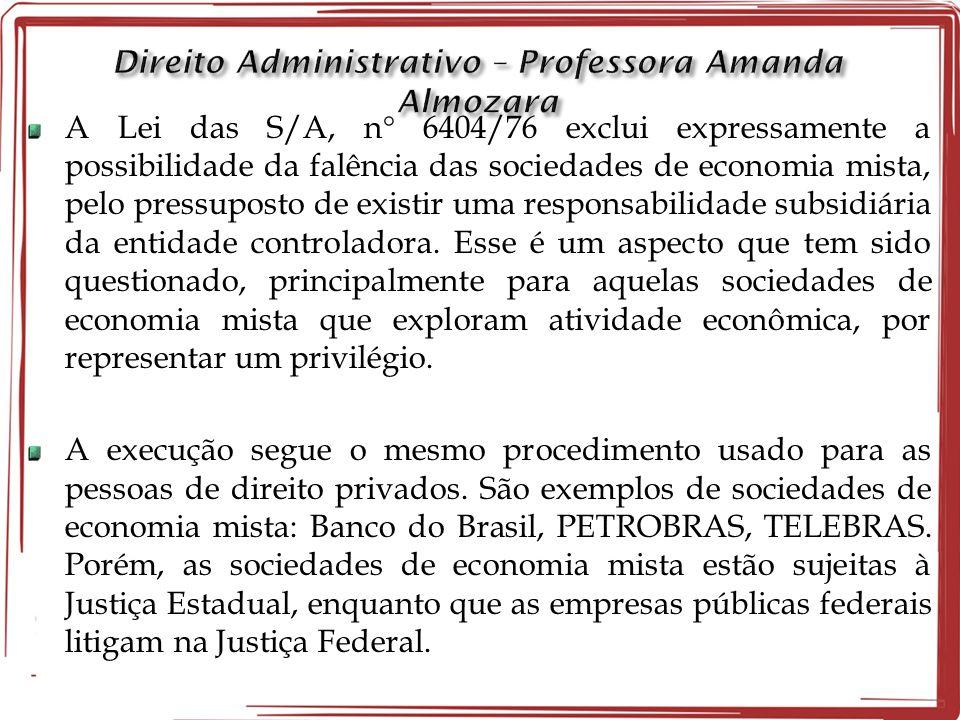 A Lei das S/A, n  6404/76 exclui expressamente a possibilidade da falência das sociedades de economia mista, pelo pressuposto de existir uma responsa