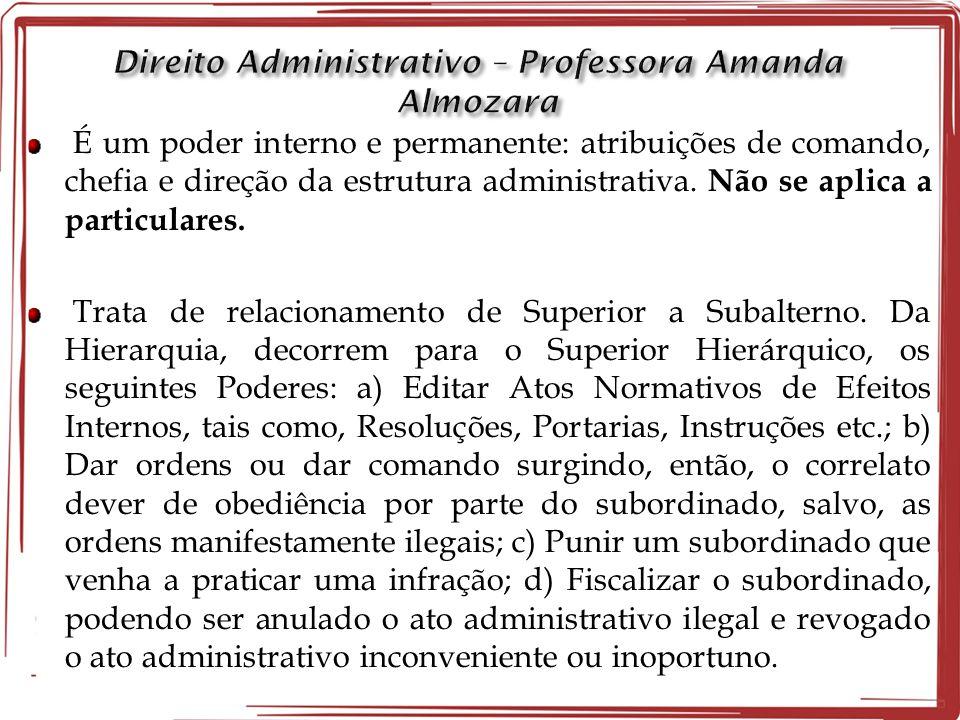 É um poder interno e permanente: atribuições de comando, chefia e direção da estrutura administrativa. Não se aplica a particulares. Trata de relacion