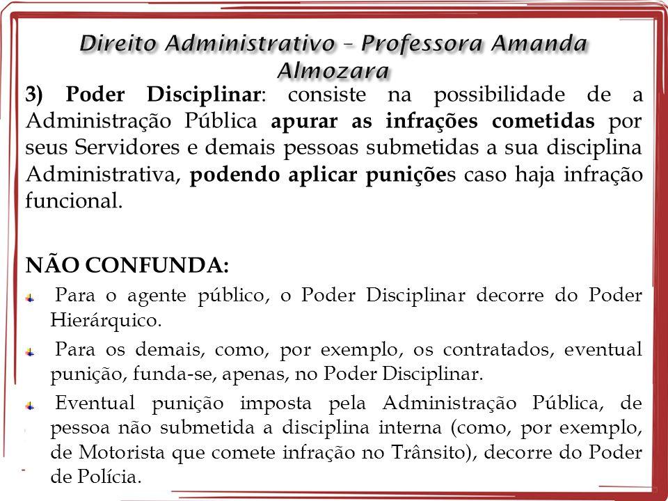 3) Poder Disciplinar : consiste na possibilidade de a Administração Pública apurar as infrações cometidas por seus Servidores e demais pessoas submeti