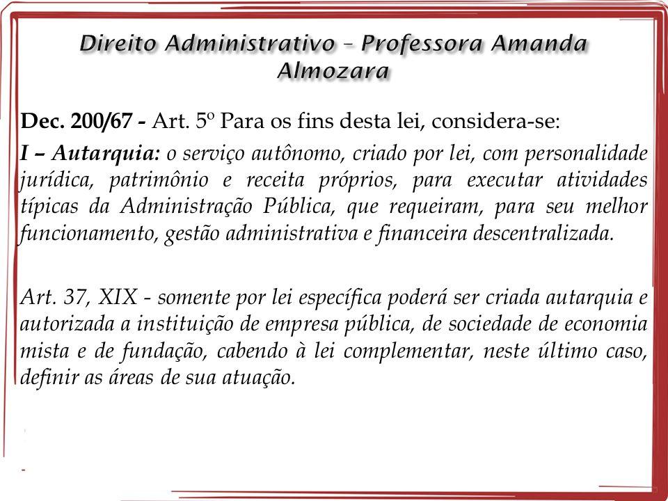 Dec. 200/67 - Art. 5º Para os fins desta lei, considera-se: I – Autarquia: o serviço autônomo, criado por lei, com personalidade jurídica, patrimônio