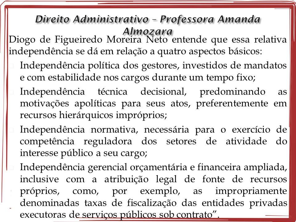 Diogo de Figueiredo Moreira Neto entende que essa relativa independência se dá em relação a quatro aspectos básicos:  Independência política dos gest