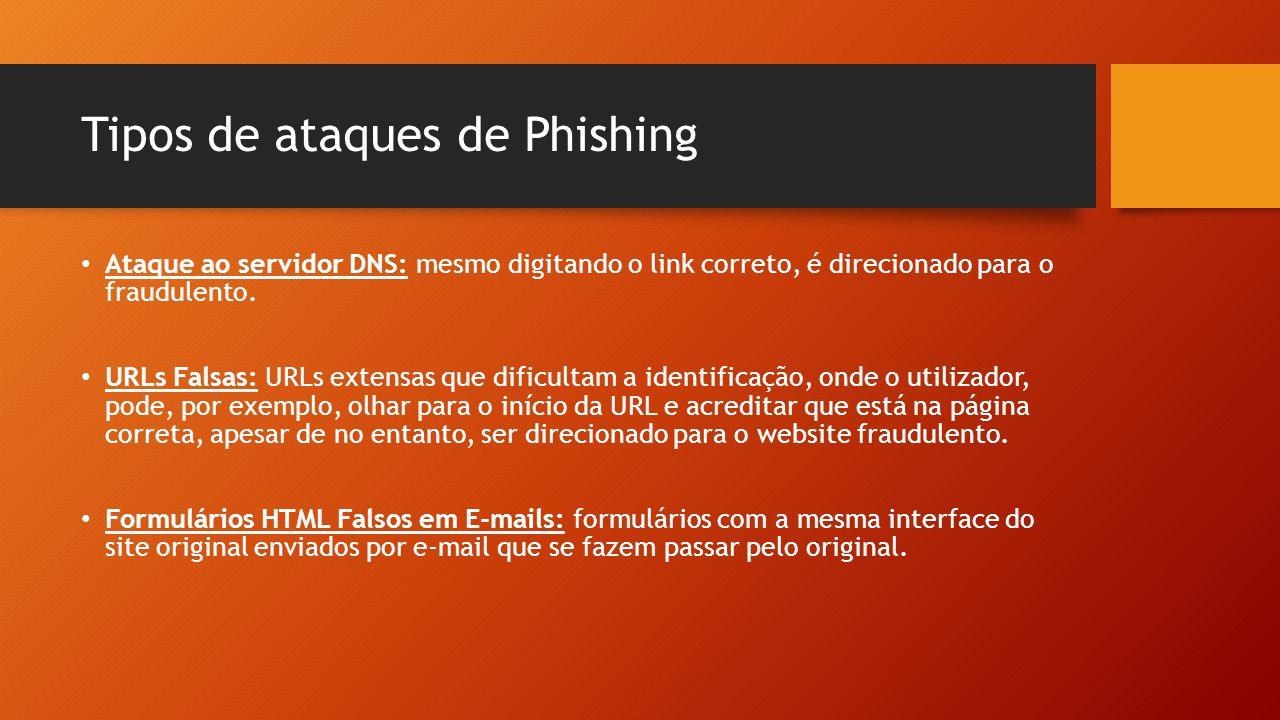 Tipos de ataques de Phishing • Ataque ao servidor DNS: mesmo digitando o link correto, é direcionado para o fraudulento. • URLs Falsas: URLs extensas