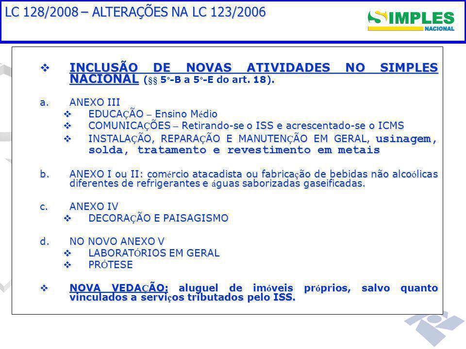  INCLUSÃO DE NOVAS ATIVIDADES NO SIMPLES NACIONAL  INCLUSÃO DE NOVAS ATIVIDADES NO SIMPLES NACIONAL (§§ 5 º -B a 5 º -E do art.