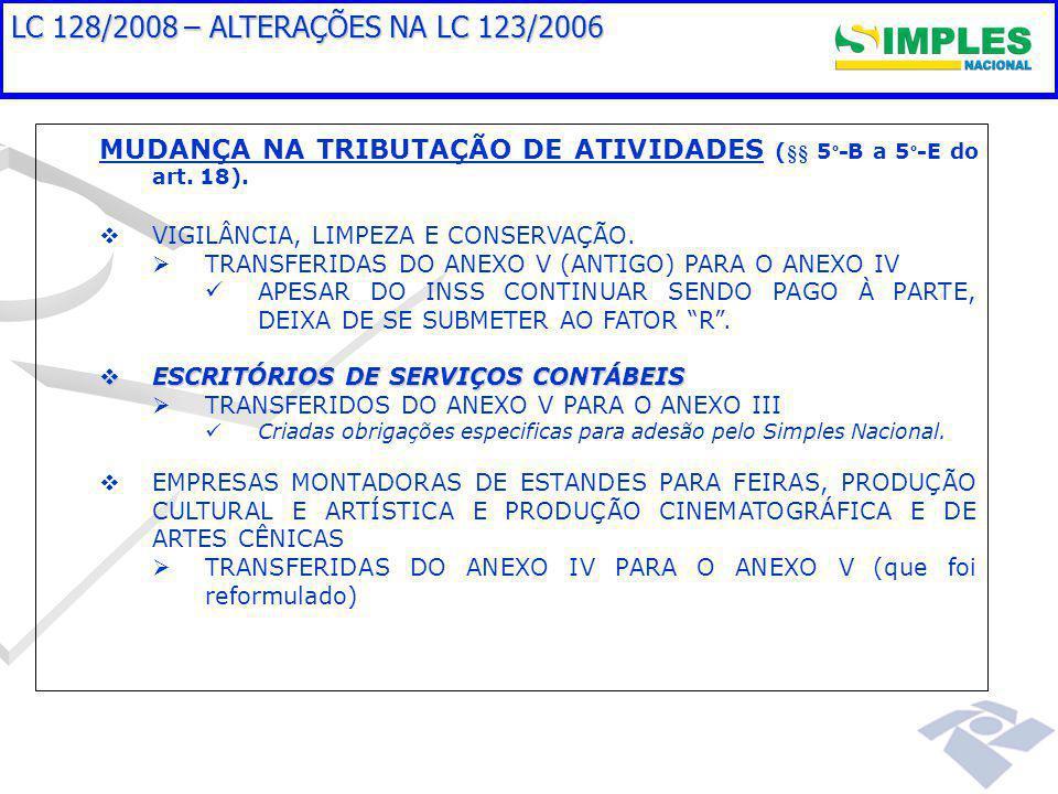 LC 128/2008 – ALTERAÇÕES NA LC 123/2006 MUDANÇA NA TRIBUTAÇÃO DE ATIVIDADES (§§ 5 º -B a 5 º -E do art.