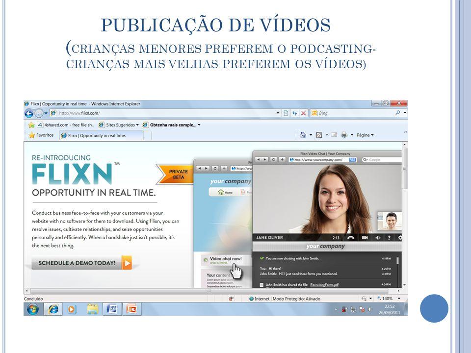 PUBLICAÇÃO DE VÍDEOS ( CRIANÇAS MENORES PREFEREM O PODCASTING- CRIANÇAS MAIS VELHAS PREFEREM OS VÍDEOS)