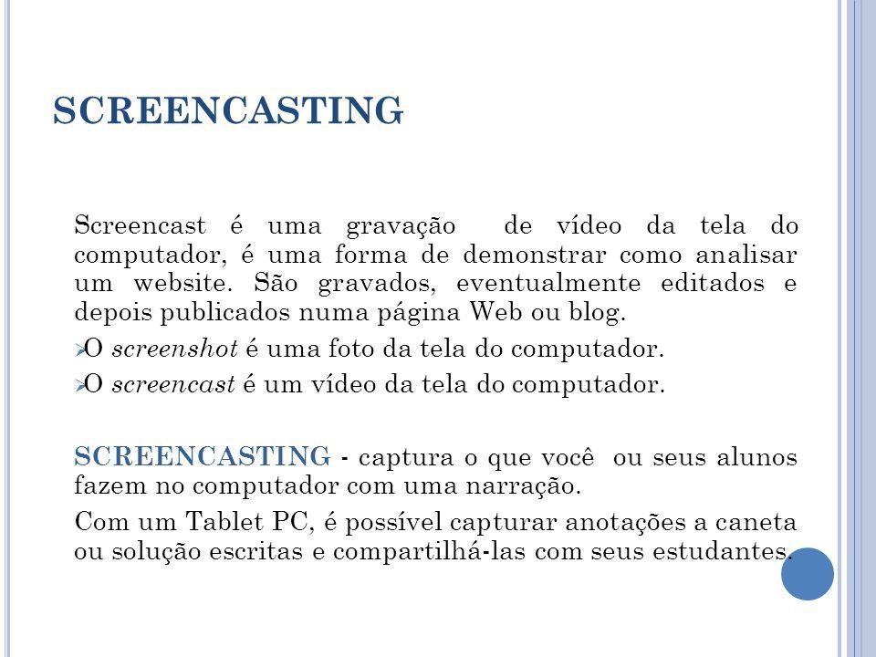 SCREENCASTING Screencast é uma gravação de vídeo da tela do computador, é uma forma de demonstrar como analisar um website.