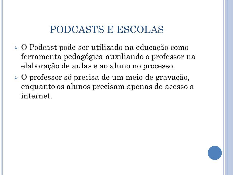 PODCASTS E ESCOLAS  O Podcast pode ser utilizado na educação como ferramenta pedagógica auxiliando o professor na elaboração de aulas e ao aluno no processo.