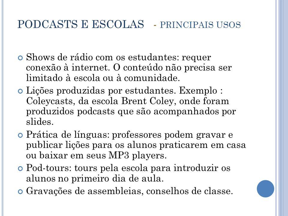 PODCASTS E ESCOLAS - PRINCIPAIS USOS Shows de rádio com os estudantes: requer conexão à internet.