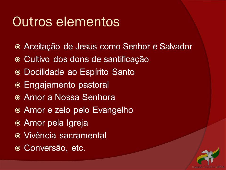 Outros elementos  Aceitação de Jesus como Senhor e Salvador  Cultivo dos dons de santificação  Docilidade ao Espírito Santo  Engajamento pastoral