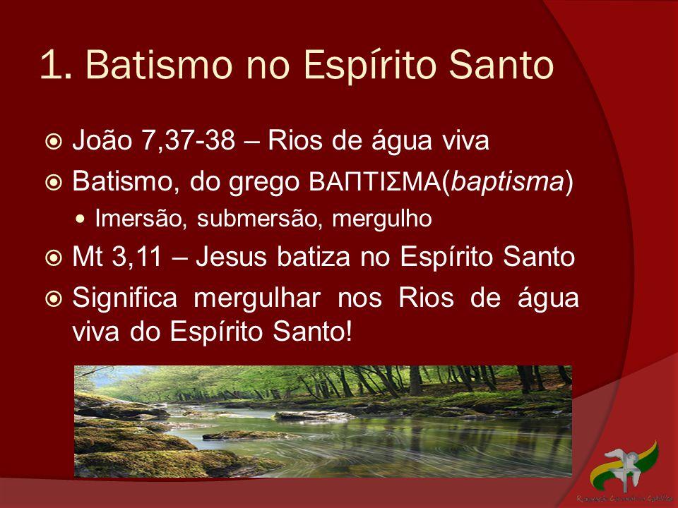 1. Batismo no Espírito Santo  João 7,37-38 – Rios de água viva  Batismo, do grego ΒΑΠΤΙΣΜΑ (baptisma)  Imersão, submersão, mergulho  Mt 3,11 – Jes