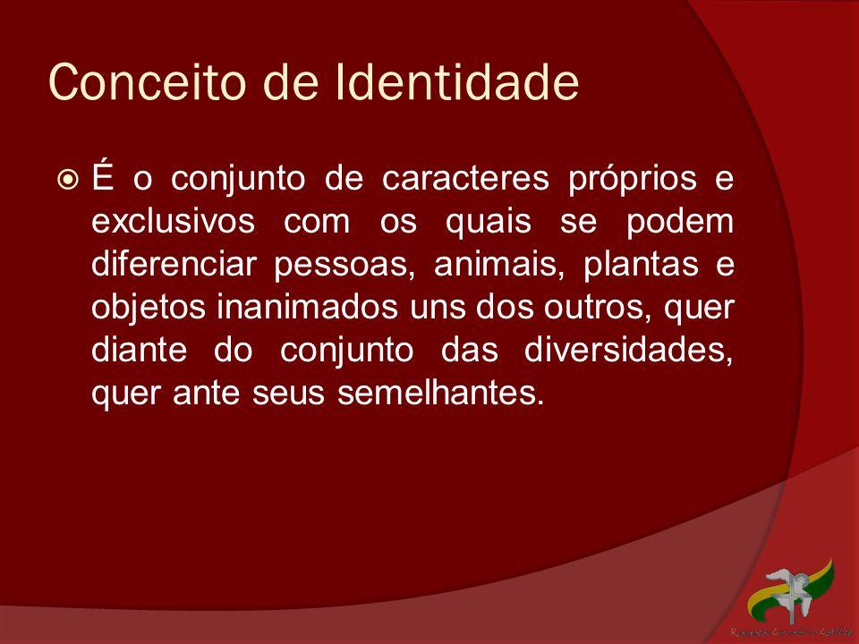 Conceito de Identidade  É o conjunto de caracteres próprios e exclusivos com os quais se podem diferenciar pessoas, animais, plantas e objetos inanim