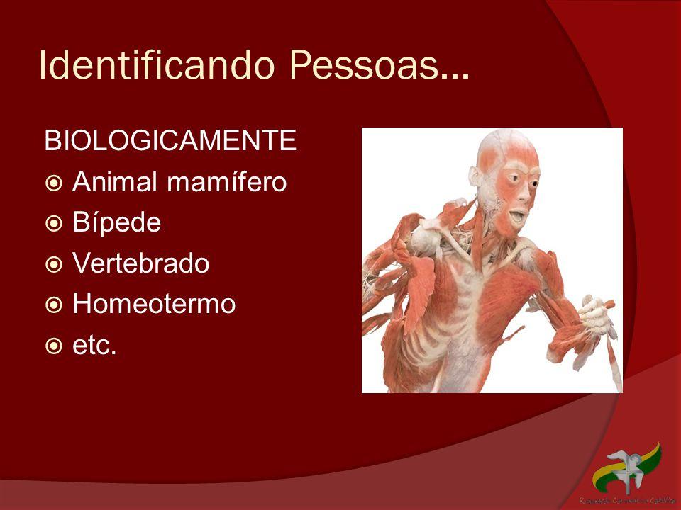 Identificando Pessoas... BIOLOGICAMENTE  Animal mamífero  Bípede  Vertebrado  Homeotermo  etc.