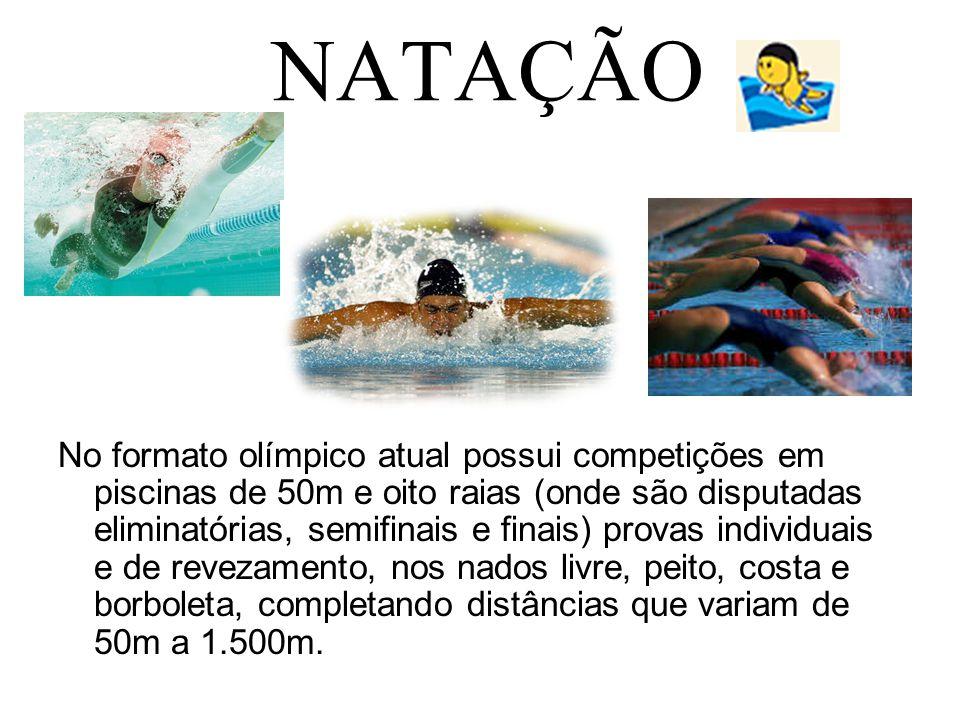 NATAÇÃO No formato olímpico atual possui competições em piscinas de 50m e oito raias (onde são disputadas eliminatórias, semifinais e finais) provas i