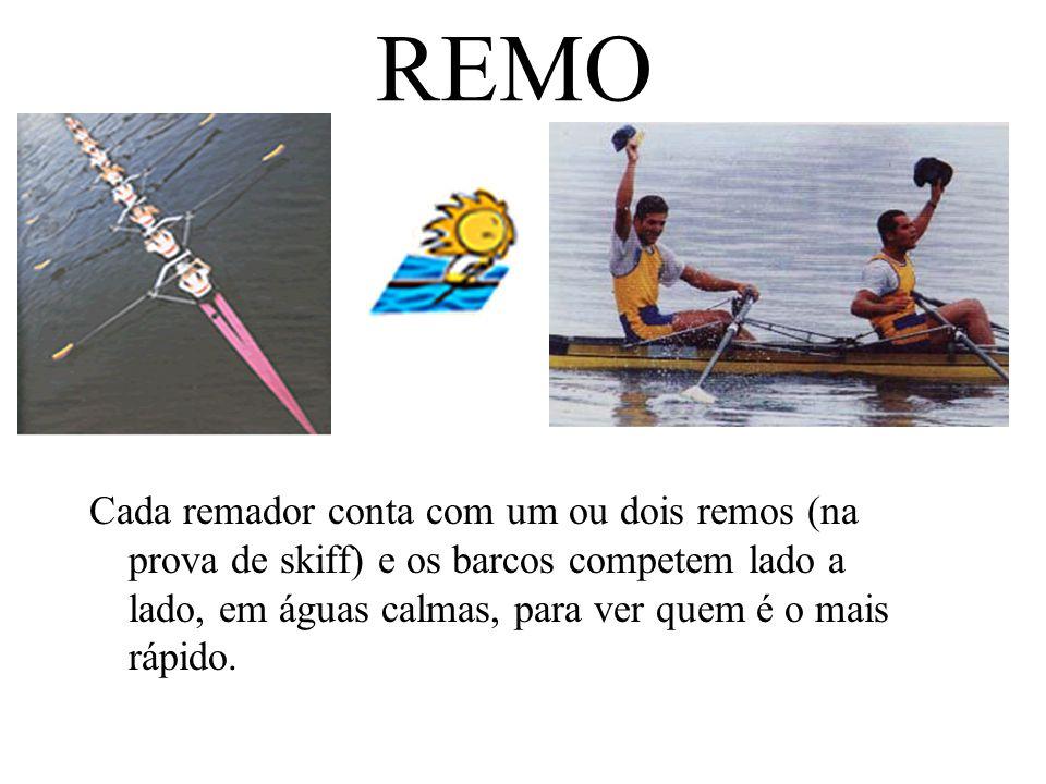 REMO Cada remador conta com um ou dois remos (na prova de skiff) e os barcos competem lado a lado, em águas calmas, para ver quem é o mais rápido.