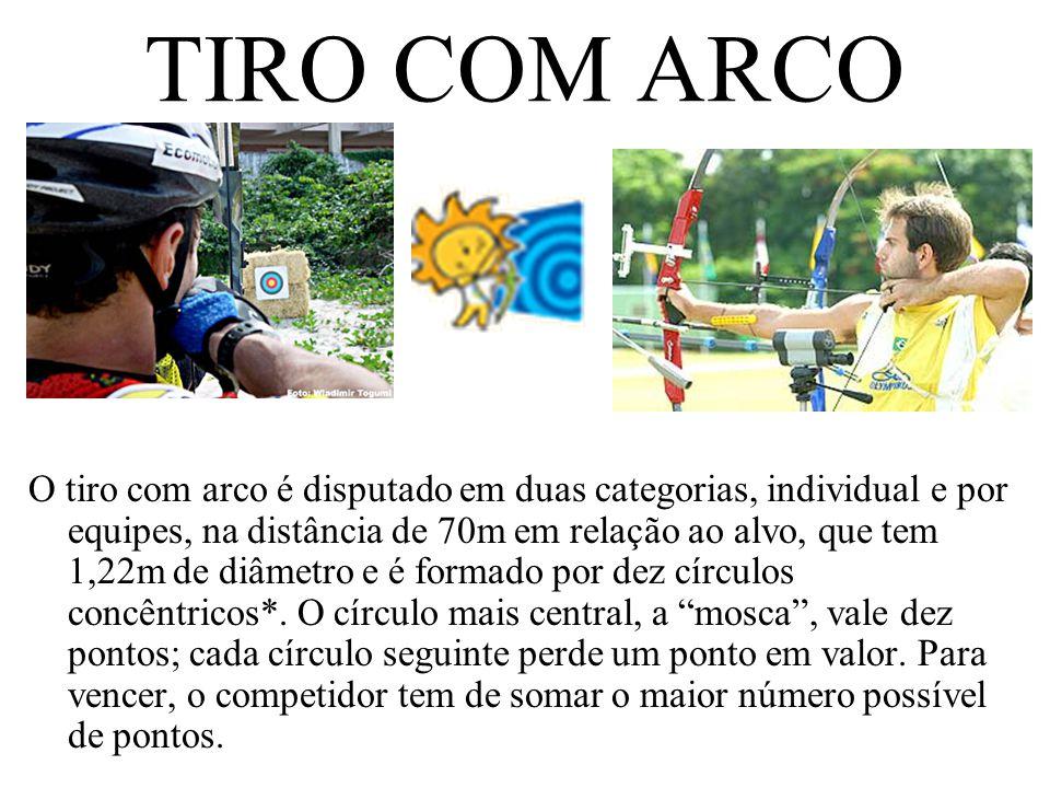 TIRO COM ARCO O tiro com arco é disputado em duas categorias, individual e por equipes, na distância de 70m em relação ao alvo, que tem 1,22m de diâme