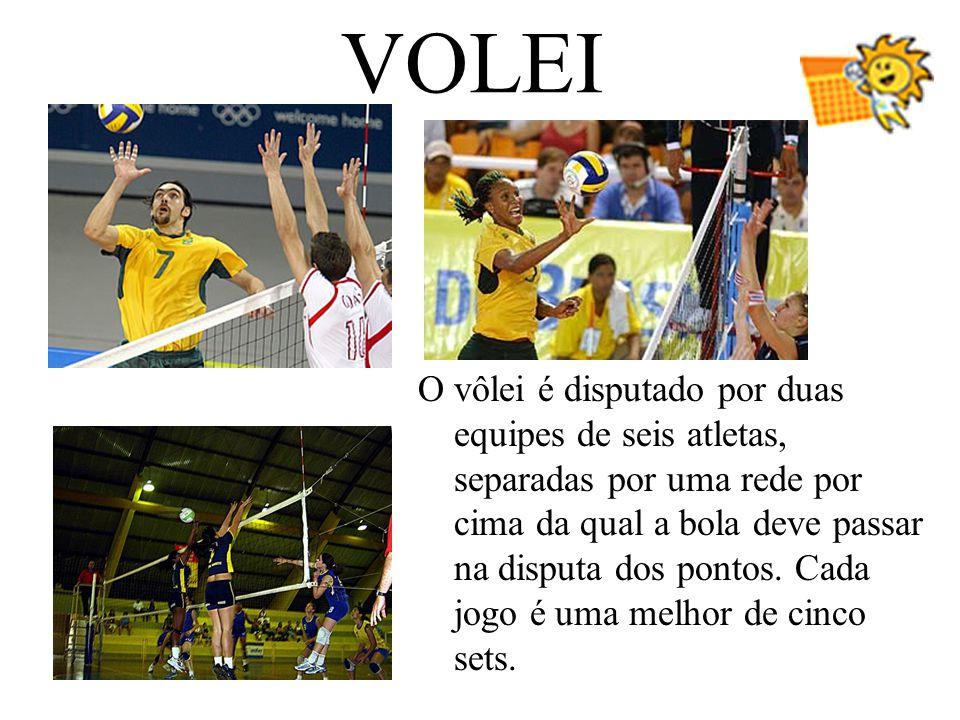 VOLEI O vôlei é disputado por duas equipes de seis atletas, separadas por uma rede por cima da qual a bola deve passar na disputa dos pontos. Cada jog