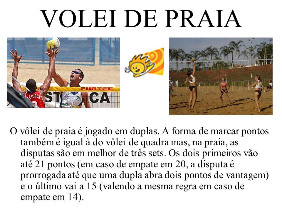 VOLEI DE PRAIA O vôlei de praia é jogado em duplas. A forma de marcar pontos também é igual à do vôlei de quadra mas, na praia, as disputas são em mel