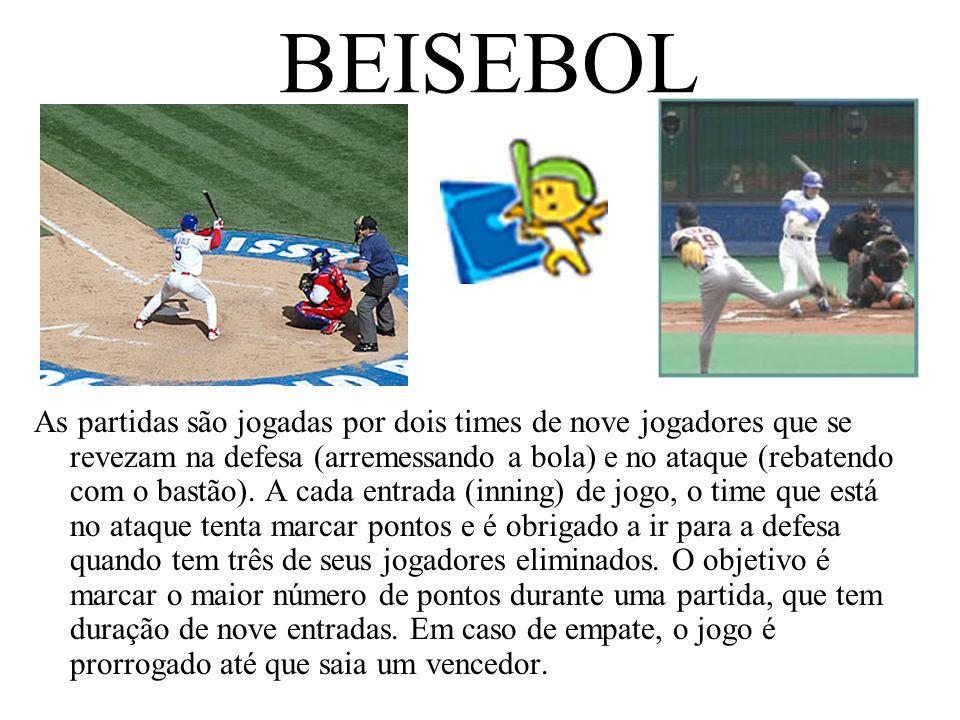BEISEBOL As partidas são jogadas por dois times de nove jogadores que se revezam na defesa (arremessando a bola) e no ataque (rebatendo com o bastão).