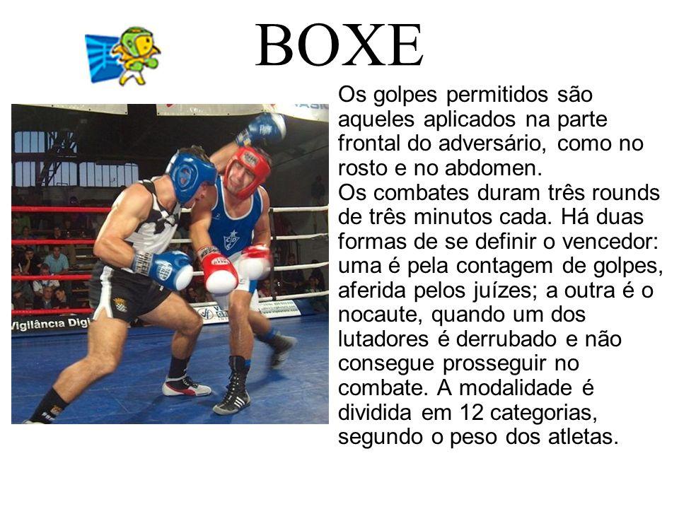 BOXE Os golpes permitidos são aqueles aplicados na parte frontal do adversário, como no rosto e no abdomen. Os combates duram três rounds de três minu