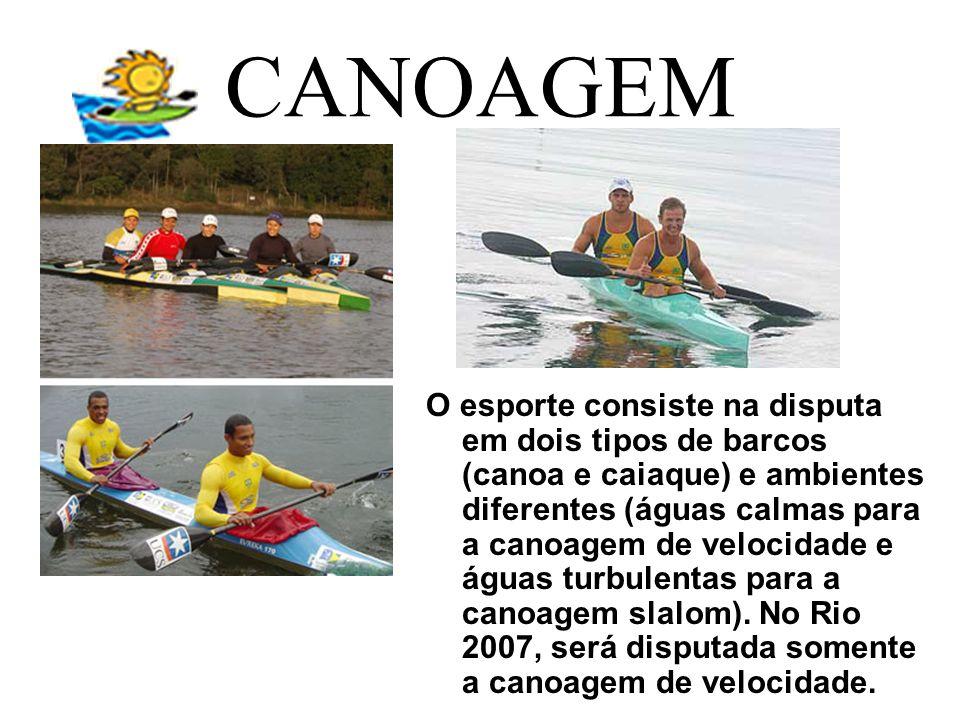 CANOAGEM O esporte consiste na disputa em dois tipos de barcos (canoa e caiaque) e ambientes diferentes (águas calmas para a canoagem de velocidade e