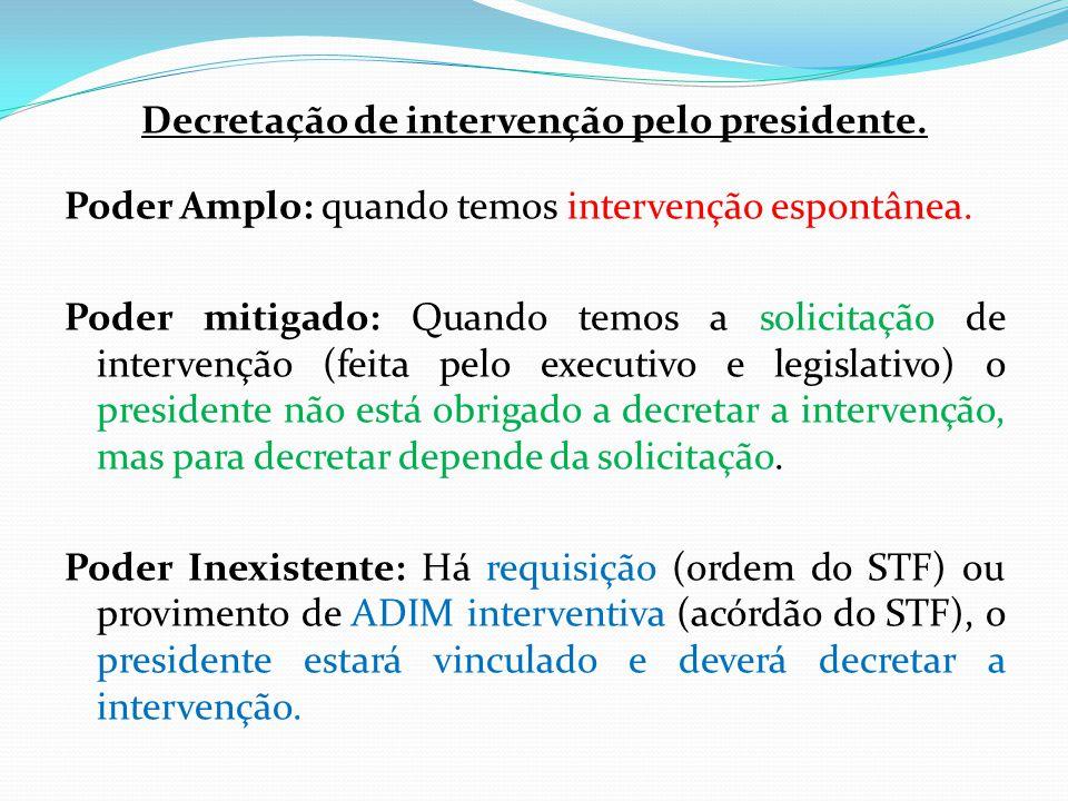 Decretação de intervenção pelo presidente.Poder Amplo: quando temos intervenção espontânea.