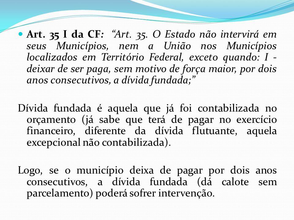""" Art. 35 I da CF: """"Art. 35. O Estado não intervirá em seus Municípios, nem a União nos Municípios localizados em Território Federal, exceto quando: I"""