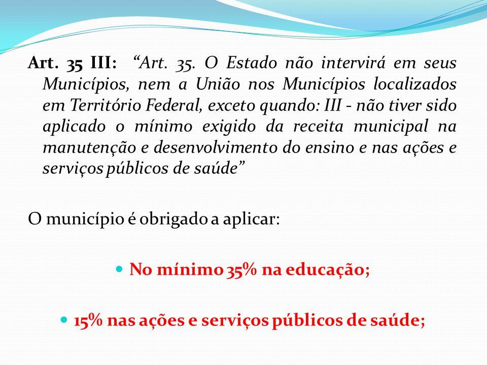 """Art. 35 III: """"Art. 35. O Estado não intervirá em seus Municípios, nem a União nos Municípios localizados em Território Federal, exceto quando: III - n"""