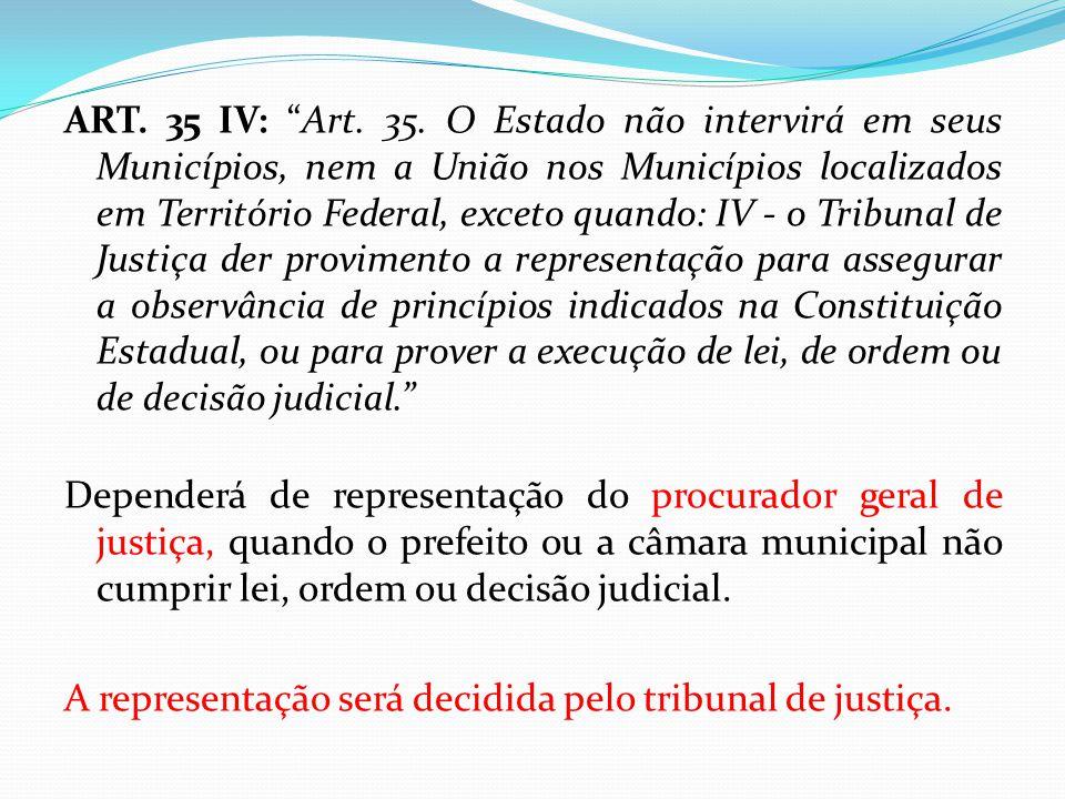 """ART. 35 IV: """"Art. 35. O Estado não intervirá em seus Municípios, nem a União nos Municípios localizados em Território Federal, exceto quando: IV - o T"""